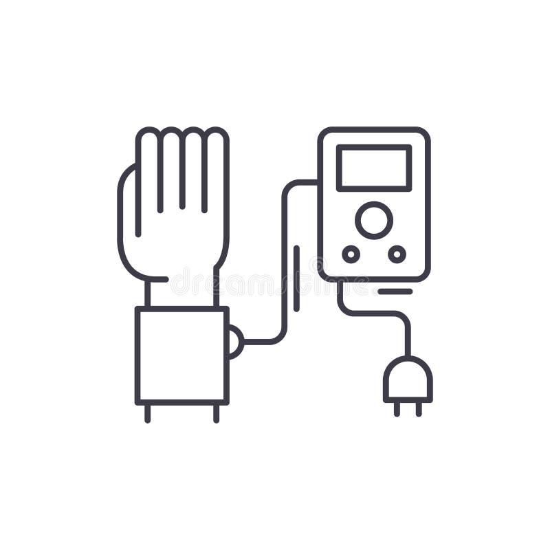 Linha conceito da medida da pressão sanguínea do ícone Ilustração linear do vetor da medida da pressão sanguínea, símbolo, sinal ilustração stock