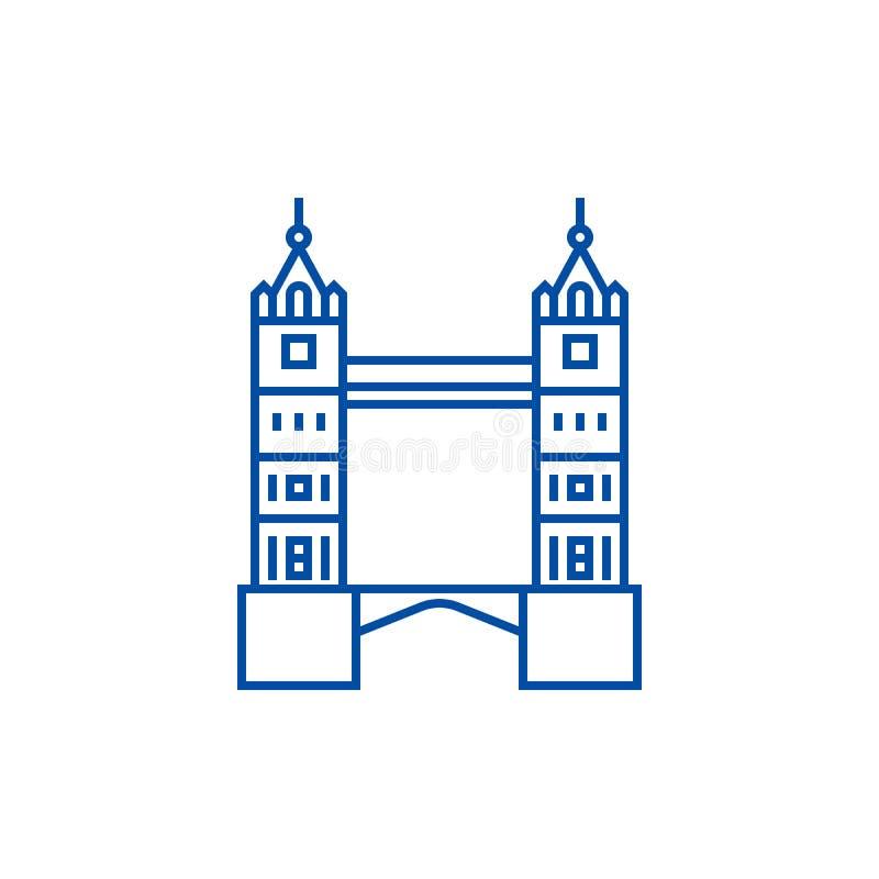 Linha conceito da ponte da torre de Londres do ícone Símbolo liso do vetor da ponte da torre de Londres, sinal, ilustração do esb ilustração stock