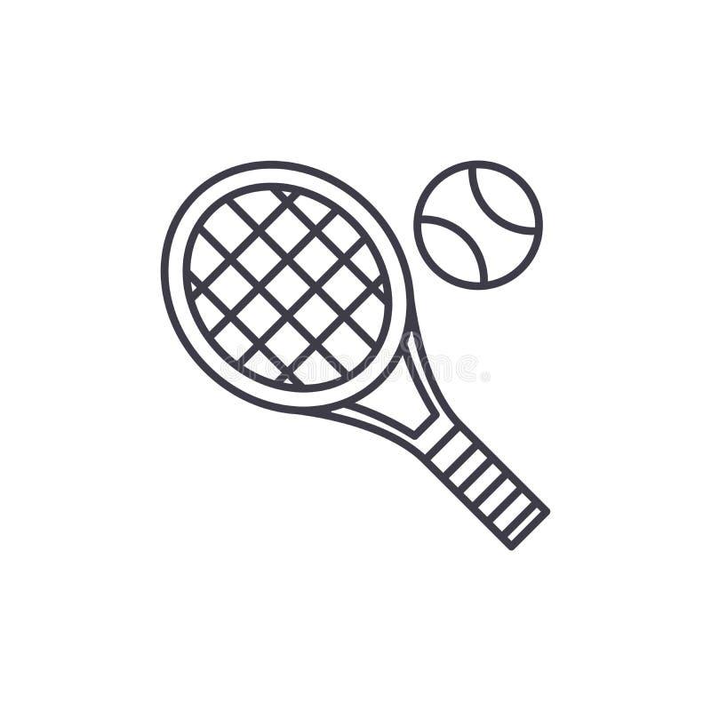 Linha conceito da raquete de tênis do ícone Ilustração linear do vetor da raquete de tênis, símbolo, sinal ilustração stock