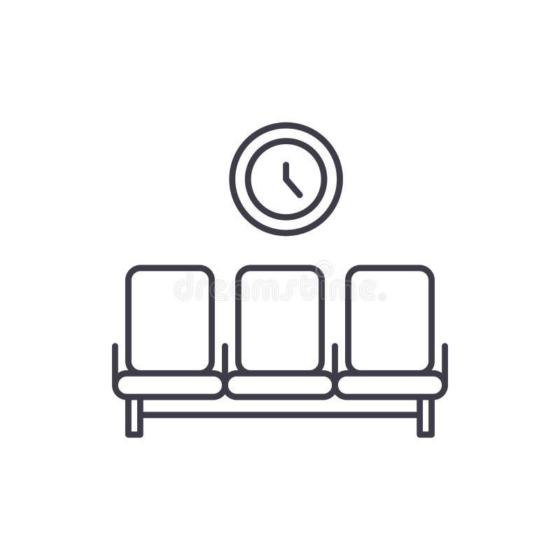 Linha conceito da sala de espera do ícone Ilustração linear do vetor da sala de espera, símbolo, sinal ilustração stock