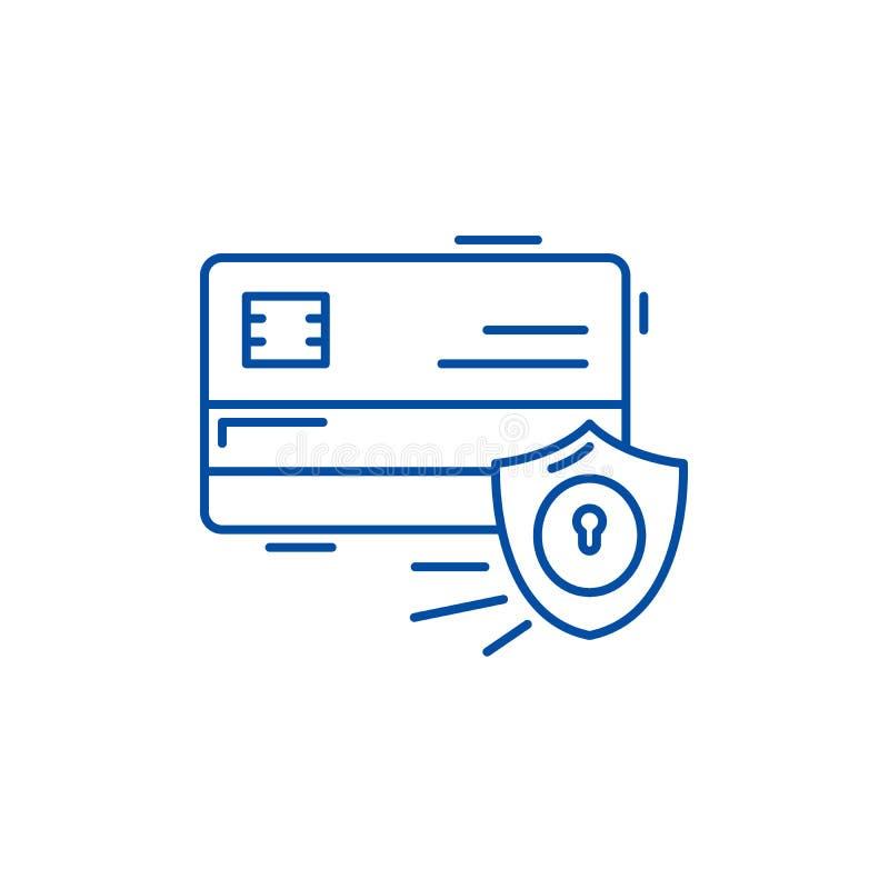 Linha conceito da segurança do pagamento do ícone Símbolo liso do vetor da segurança do pagamento, sinal, ilustração do esboço ilustração royalty free