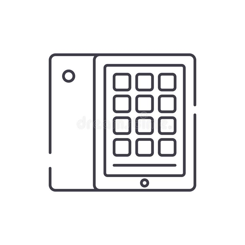 Linha conceito da tabuleta e do caso do ícone Ilustração linear do vetor da tabuleta e do caso, símbolo, sinal ilustração stock