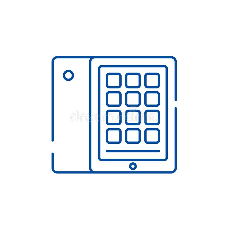 Linha conceito da tabuleta e do caso do ?cone Símbolo liso do vetor da tabuleta e do caso, sinal, ilustração do esboço ilustração stock