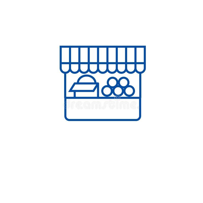 Linha conceito da tenda do alimento do fazendeiro do ícone Símbolo liso do vetor da tenda do alimento do fazendeiro, sinal, ilust ilustração royalty free