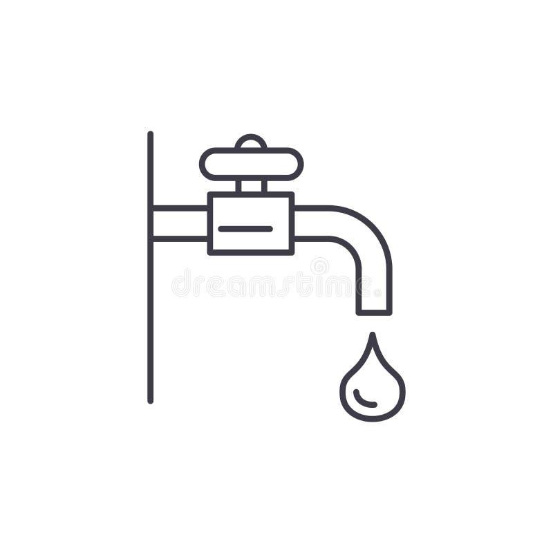 Linha conceito da torneira de água do ícone Ilustração linear do vetor da torneira de água, símbolo, sinal ilustração stock