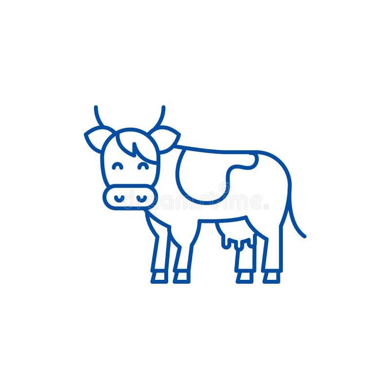 Linha conceito da vaca do ícone Símbolo liso do vetor da vaca, sinal, ilustração do esboço ilustração do vetor