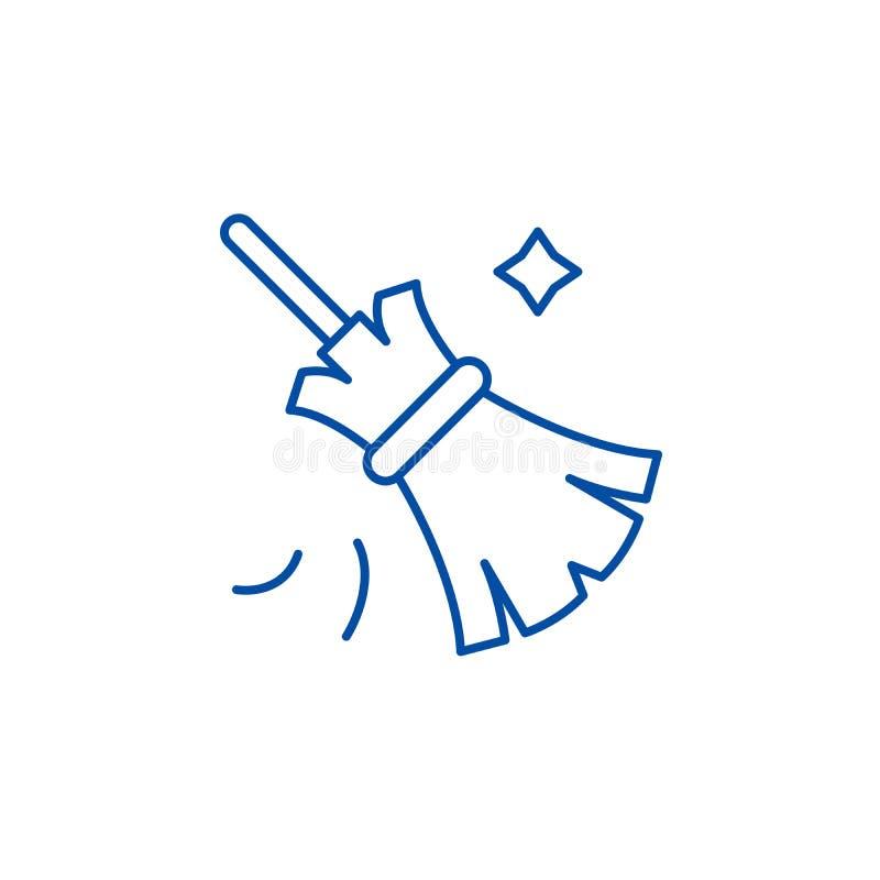 Linha conceito da vassoura do ícone Símbolo liso do vetor da vassoura, sinal, ilustração do esboço ilustração do vetor