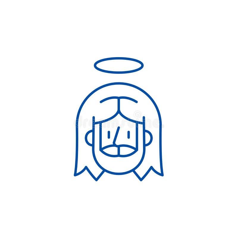 Linha conceito de Jesus do ícone Símbolo liso do vetor de Jesus, sinal, ilustração do esboço ilustração do vetor