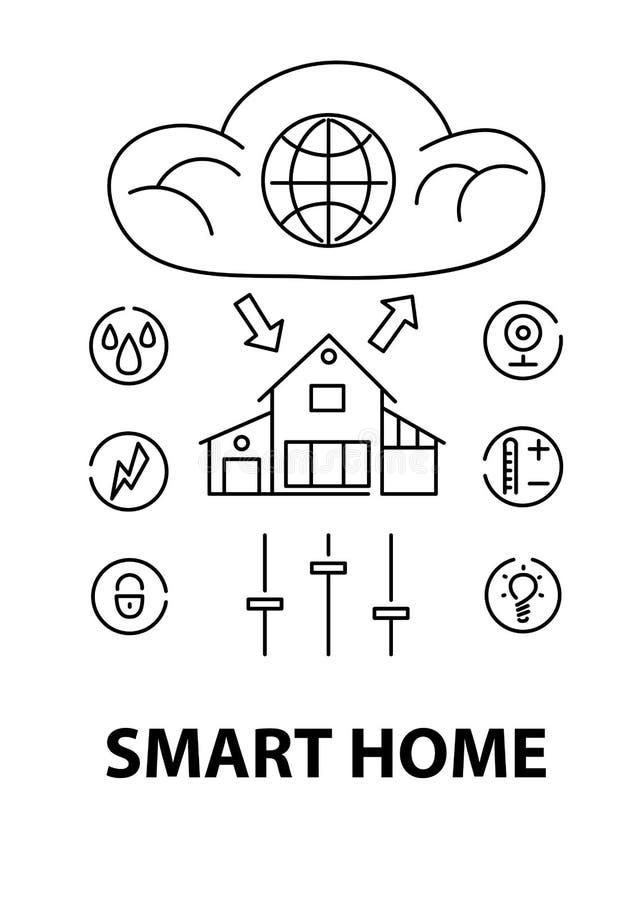 Linha conceito de projeto do estilo da casa esperta, infraestrutura de rede de conectar tudo ilustração do vetor