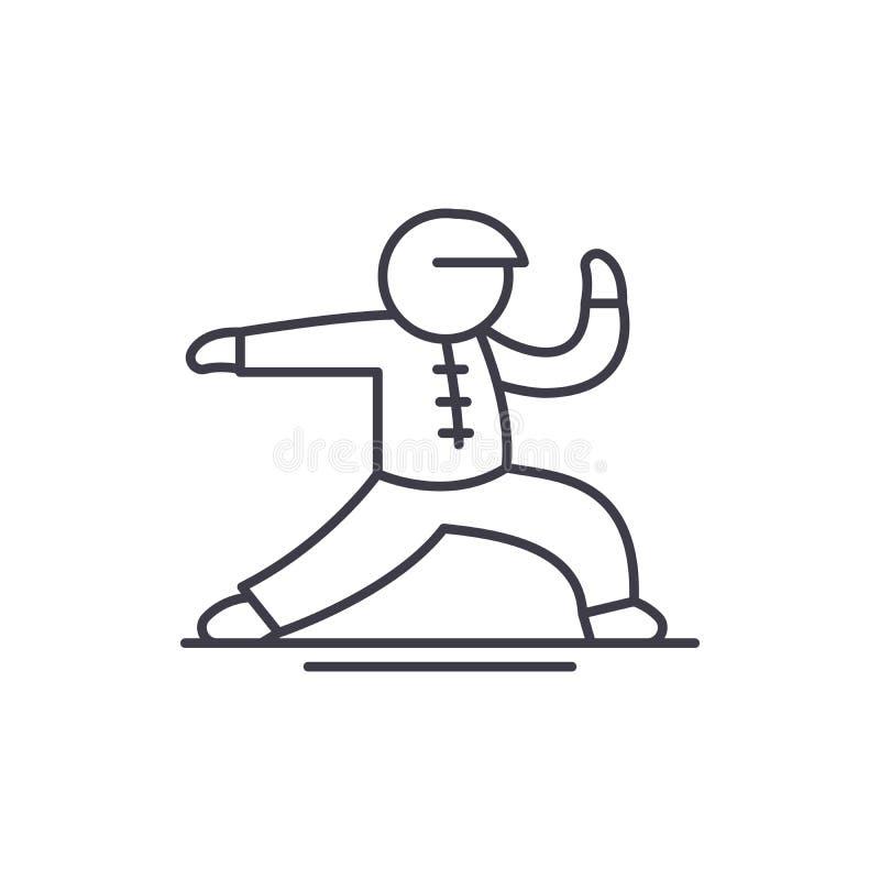 Linha conceito de Wushu do ícone Ilustração linear do vetor de Wushu, símbolo, sinal ilustração stock