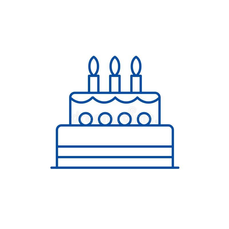 Linha conceito do bolo de anivers?rio do ?cone S?mbolo liso do vetor do bolo de anivers?rio, sinal, ilustra??o do esbo?o ilustração stock