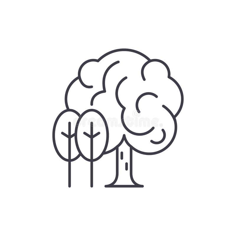 Linha conceito do bosque do ícone Ilustração linear do vetor do bosque, símbolo, sinal ilustração royalty free