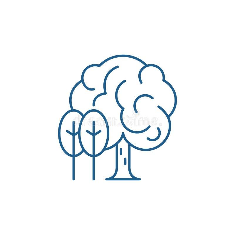 Linha conceito do bosque do ícone Símbolo liso do vetor do bosque, sinal, ilustração do esboço ilustração stock