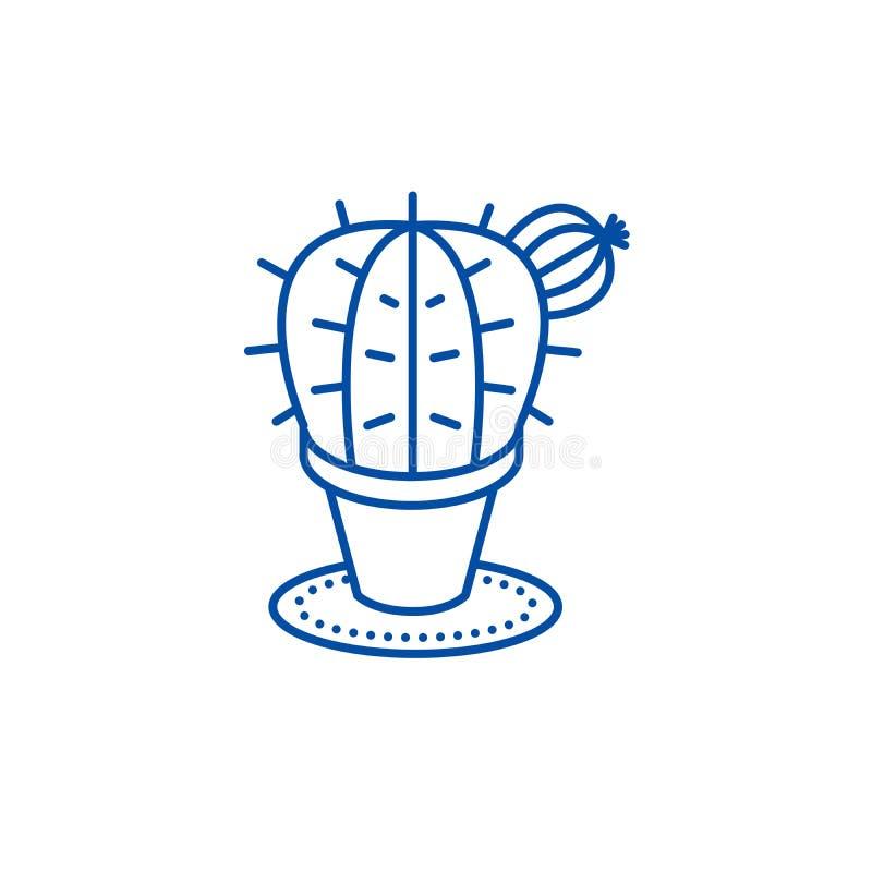 Linha conceito do cacto do ícone Símbolo liso do vetor do cacto, sinal, ilustração do esboço ilustração stock