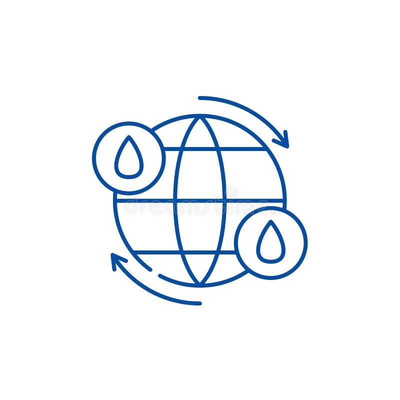 Linha conceito do ciclo da ?gua do ?cone S?mbolo liso do vetor do ciclo da ?gua, sinal, ilustra??o do esbo?o ilustração do vetor
