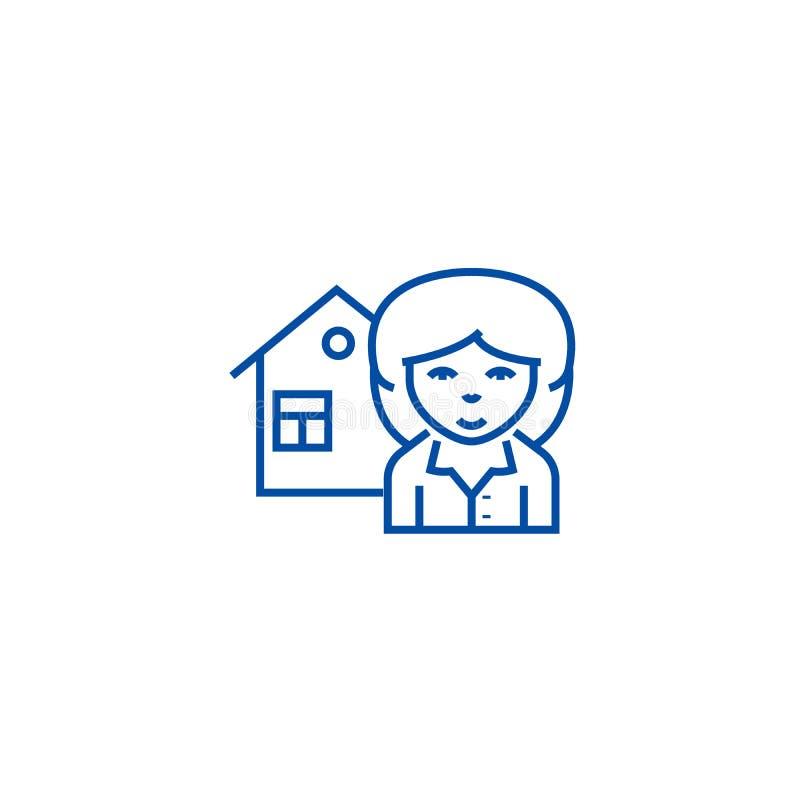 Linha conceito do corretor de imóveis do ícone Símbolo liso do vetor do corretor de imóveis, sinal, ilustração do esboço ilustração royalty free