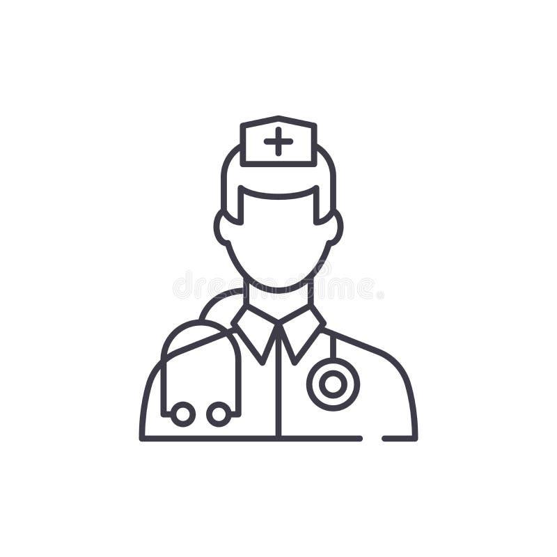 Linha conceito do doutor do ícone Ilustração linear do vetor do doutor, símbolo, sinal ilustração royalty free