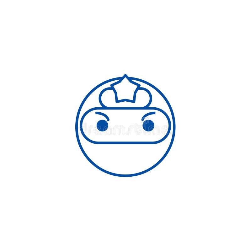 Linha conceito do emoji de Ninja do ícone Símbolo liso do vetor do emoji de Ninja, sinal, ilustração do esboço ilustração do vetor