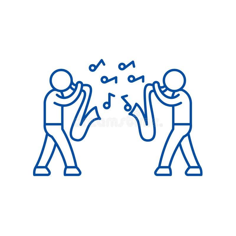 Linha conceito do jazz do ícone Símbolo liso do vetor do jazz, sinal, ilustração do esboço ilustração stock