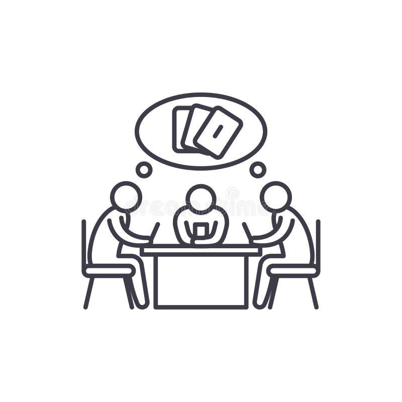 Linha conceito do jogo de cartas do ícone Ilustração linear do vetor do jogo de cartas, símbolo, sinal ilustração royalty free