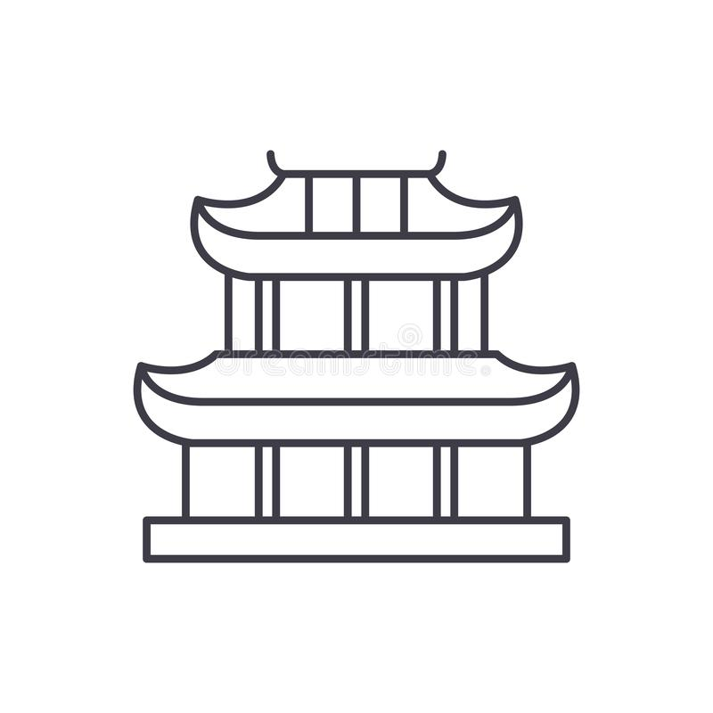 Linha conceito do pagode do ícone Ilustração linear do vetor do pagode, símbolo, sinal ilustração do vetor