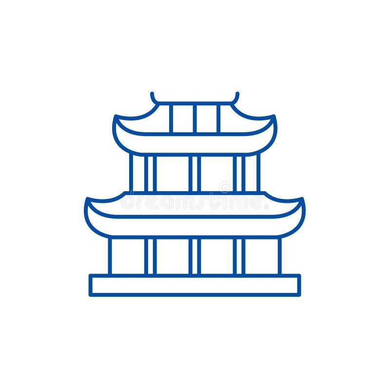 Linha conceito do pagode do ícone Símbolo liso do vetor do pagode, sinal, ilustração do esboço ilustração do vetor