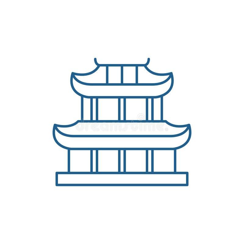 Linha conceito do pagode do ícone Símbolo liso do vetor do pagode, sinal, ilustração do esboço ilustração royalty free