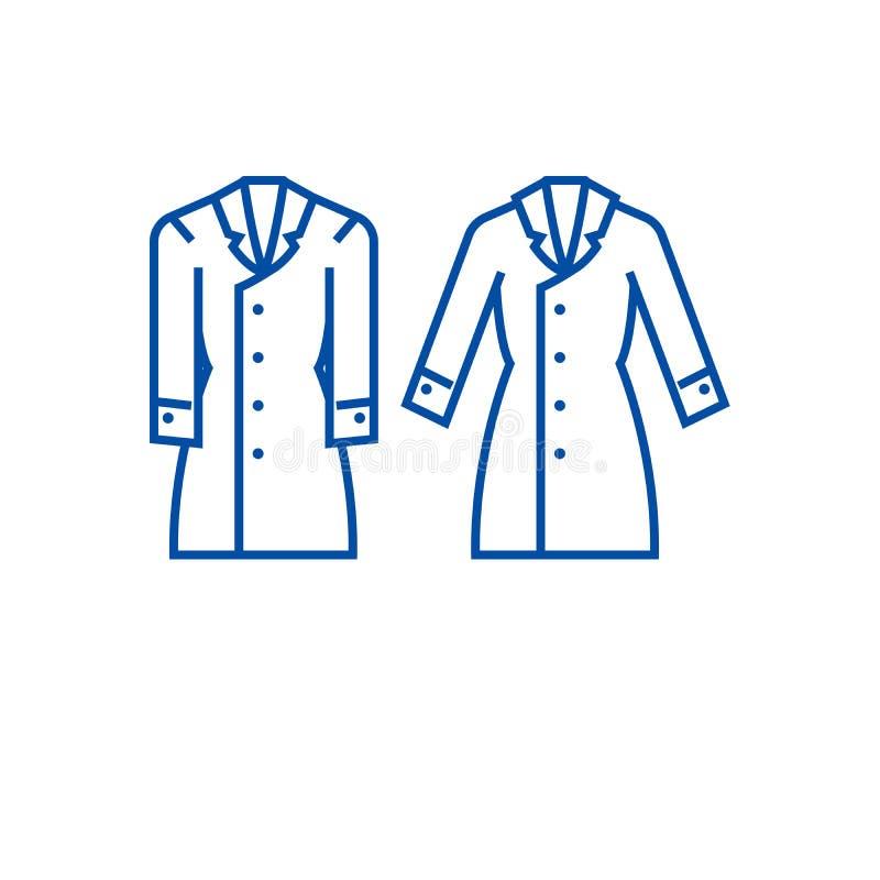 Linha conceito do revestimento de trincheira do ícone Símbolo liso do vetor do revestimento de trincheira, sinal, ilustração do e ilustração stock