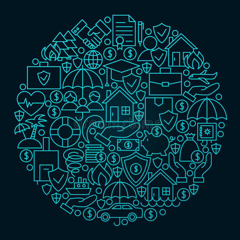 Linha conceito do seguro do círculo do ícone ilustração do vetor