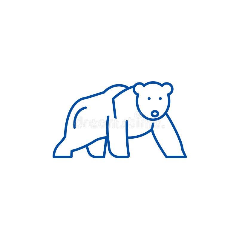 Linha conceito do urso polar do ícone Símbolo liso do vetor do urso polar, sinal, ilustração do esboço ilustração stock