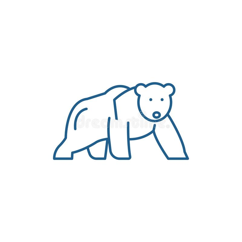 Linha conceito do urso polar do ícone Símbolo liso do vetor do urso polar, sinal, ilustração do esboço ilustração do vetor