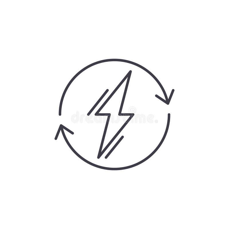 Linha conceito do uso do poder do ícone Ilustração linear do vetor do uso do poder, símbolo, sinal ilustração stock