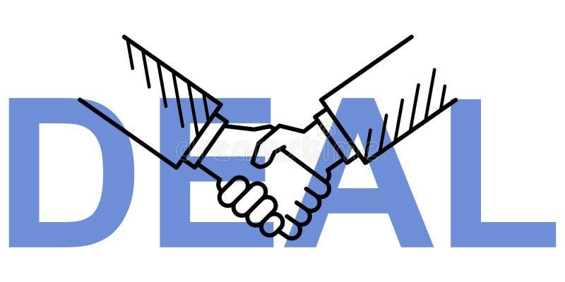 Linha conceptiva limpa simples ilustração do vetor da arte do aperto de mão no NEGÓCIO azul do texto ilustração royalty free