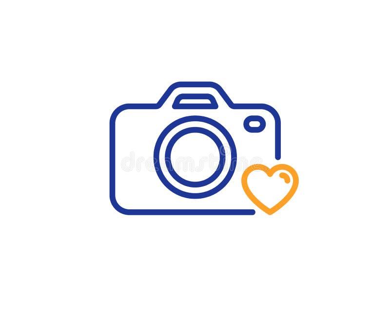 Linha ?cone da c?mera da foto Sinal da fotografia do amor Cora??o Vetor ilustração royalty free