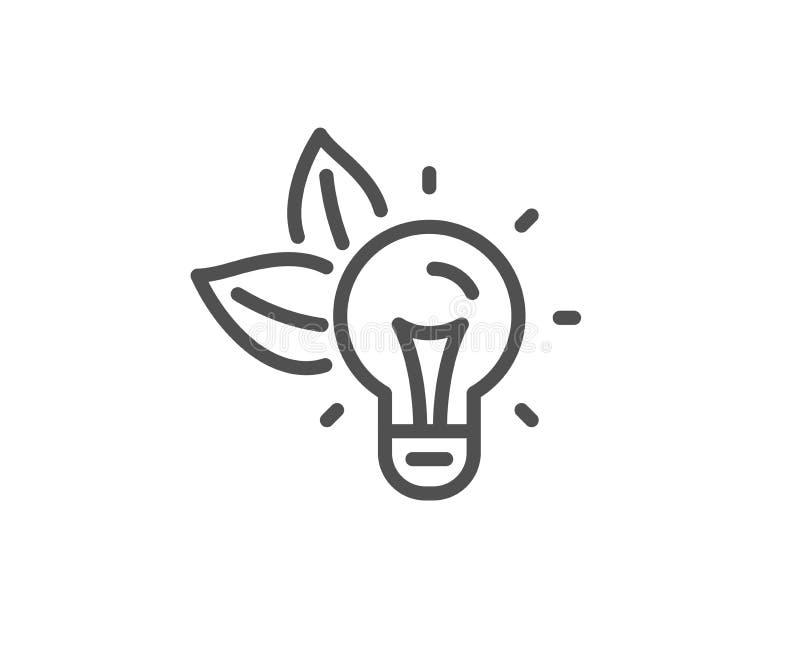 Linha ?cone da energia de Eco sinal da ampola Energia el?ctrica Vetor ilustração stock