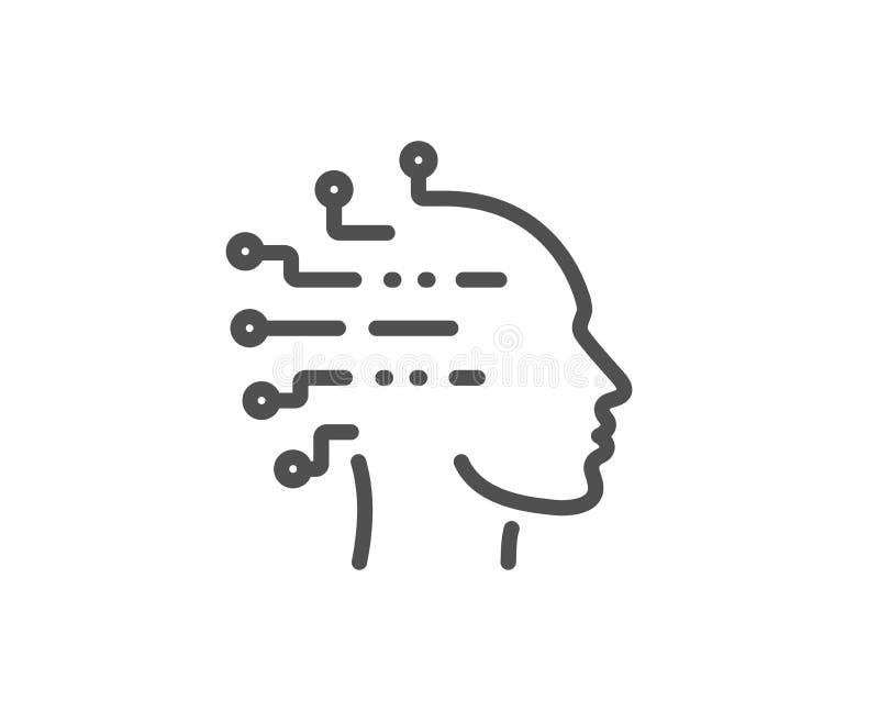 Linha ?cone da intelig?ncia artificial Sinal da cabeça do Ai Vetor ilustração do vetor