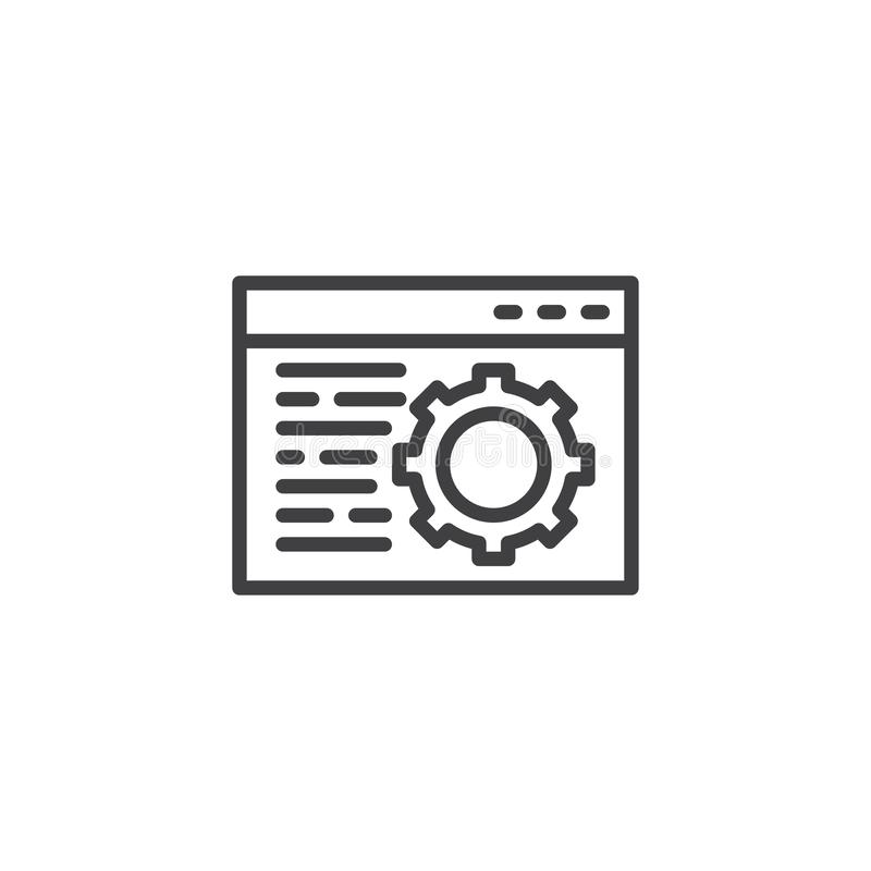 Linha ?cone do ajuste de navegador ilustração stock