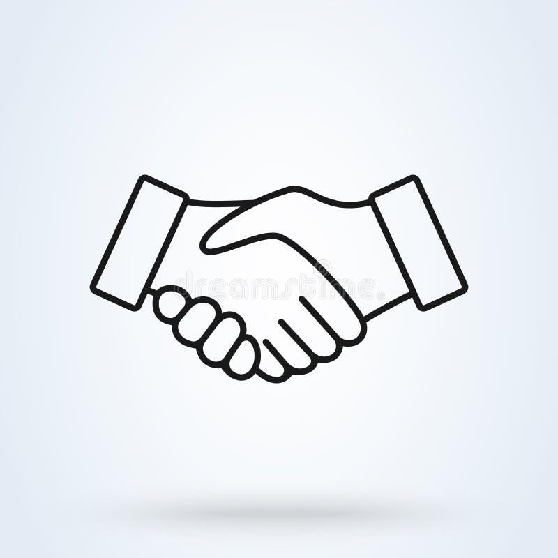 Linha ?cone do aperto de m?o Símbolo da parceria e do acordo no fundo branco Ilustra??o do vetor ilustração stock