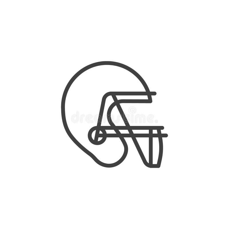 Linha ?cone do capacete de futebol americano ilustração stock