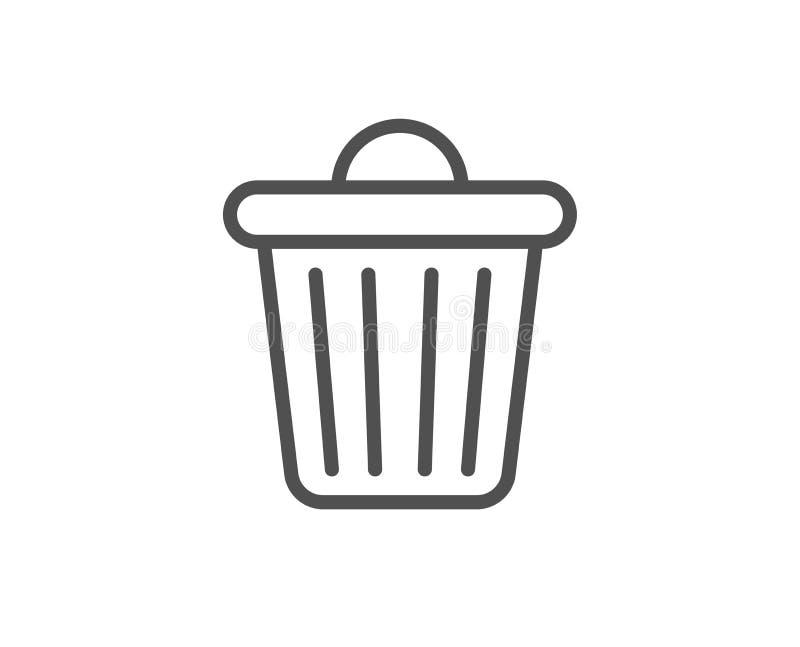 Linha ?cone do escaninho de lixo Lixo, sinal do desperdício A supress?o, remove Vetor ilustração royalty free