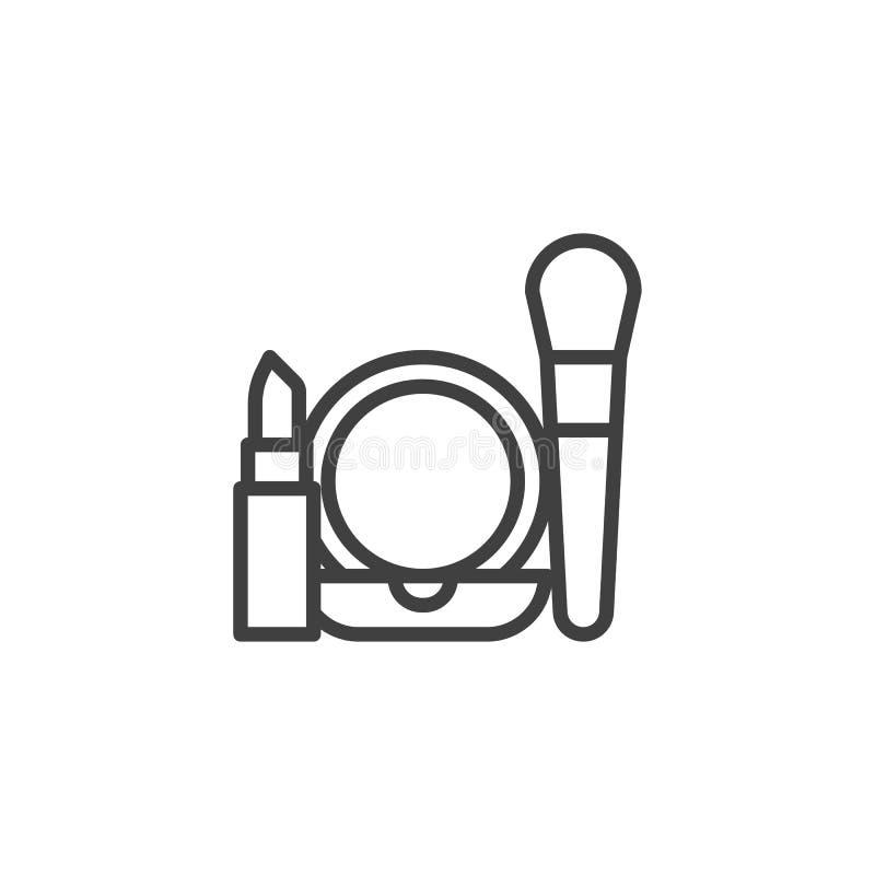 Linha ?cone do grupo dos cosm?ticos ilustração stock