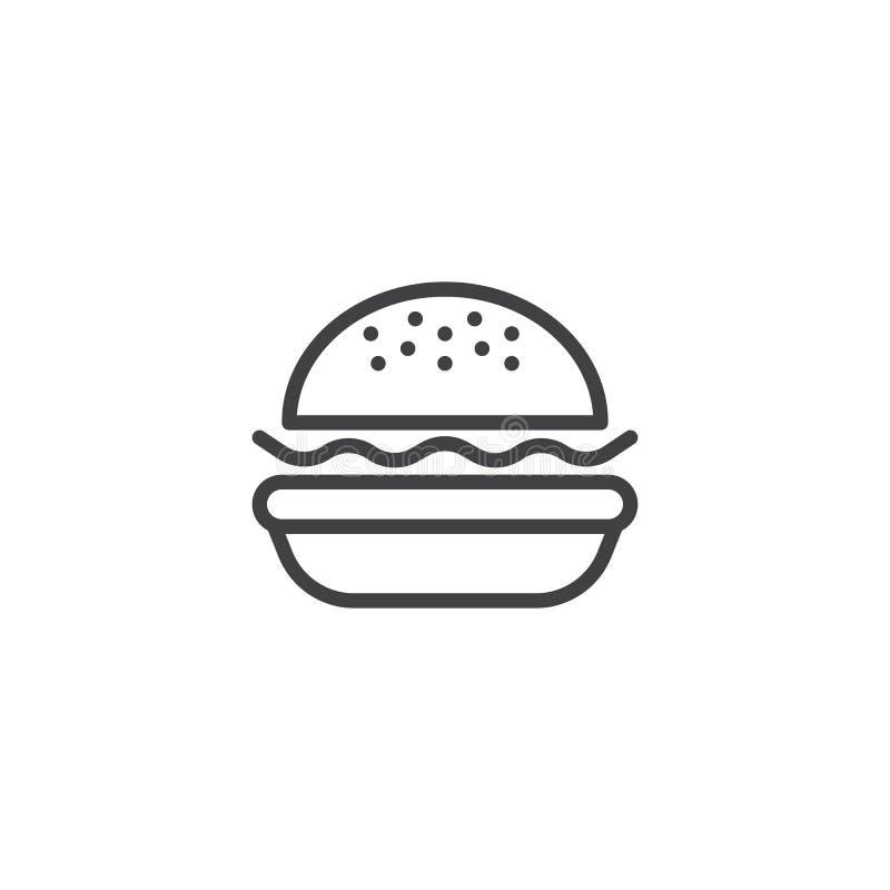 Linha ?cone do Hamburger ilustração do vetor