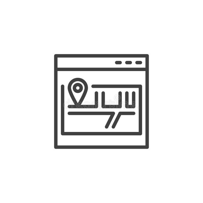 Linha ?cone do mapa do site ilustração do vetor