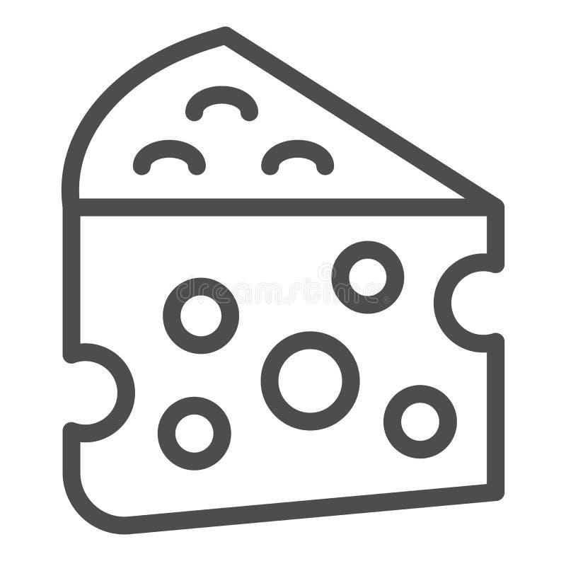 Linha ?cone do queijo Ilustração do vetor do alimento de leite isolada no branco Projeto do estilo do esboço do queijo Cheddar, p ilustração do vetor