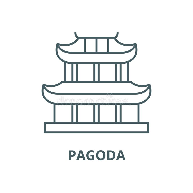 Linha ?cone do vetor do pagode, conceito linear, sinal do esbo?o, s?mbolo ilustração royalty free