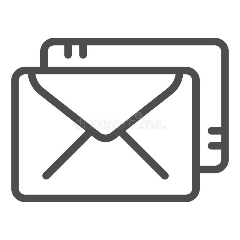 Linha ?cone dos envelopes Ilustra??o do vetor do correio isolada no branco Projeto do estilo do esbo?o do cargo, projetado para a ilustração do vetor