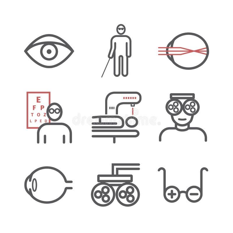 Linha ?cones da miopia ajustados Vector a ilustra??o para Web site, compartimentos, folhetos Sinais da medicina ilustração do vetor