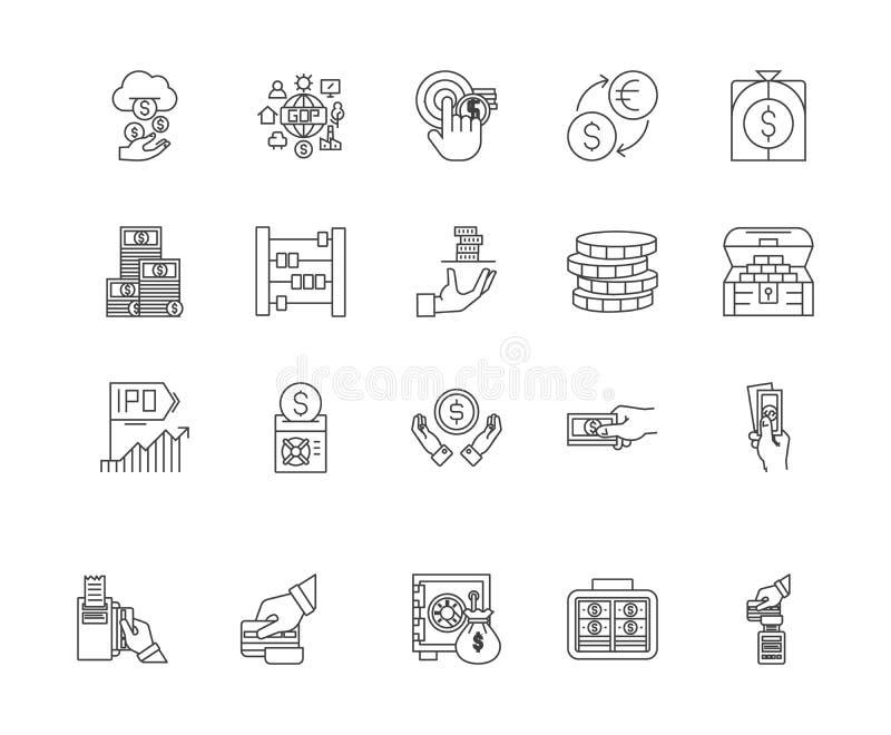 Linha ?cones da troca de moeda, sinais, grupo do vetor, conceito da ilustra??o do esbo ilustração do vetor
