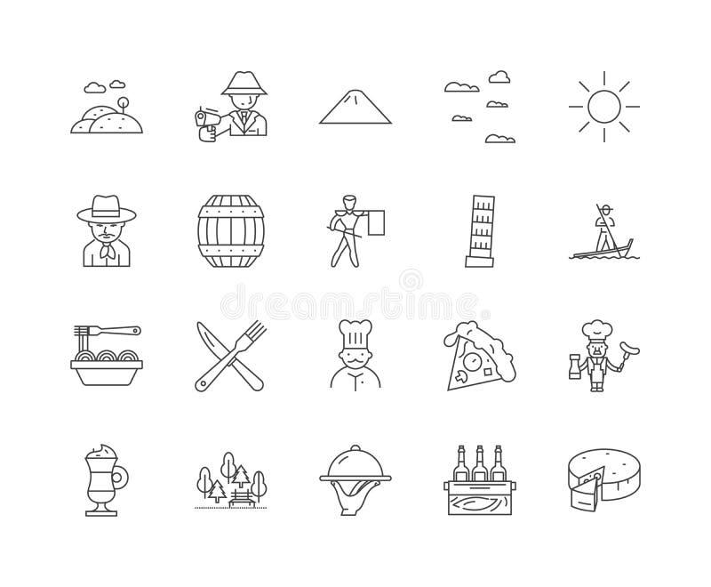 Linha ?cones de It?lia, sinais, grupo do vetor, conceito da ilustra??o do esbo?o ilustração stock