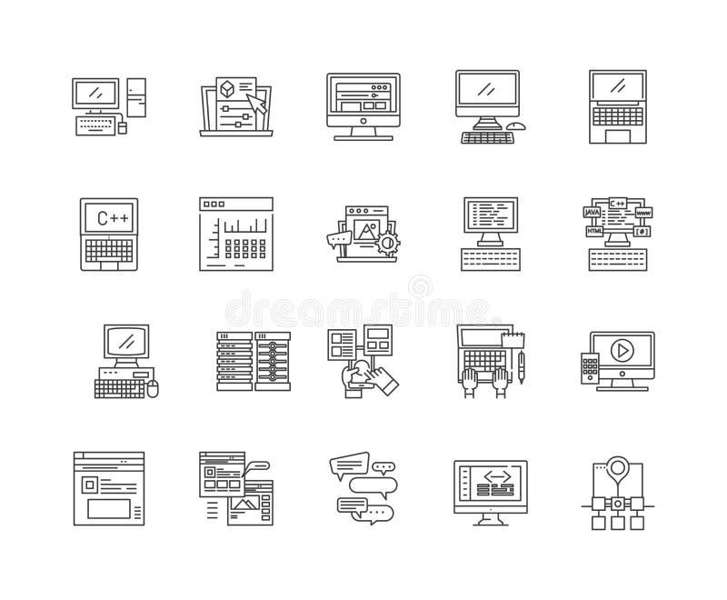 Linha ?cones do armazenamento de dados, sinais, grupo do vetor, conceito da ilustra??o do esbo ilustração stock